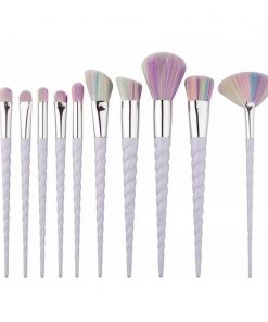 Unicorn Make up, set brushes kwasten met eenhoorn handvat en regenboogharen