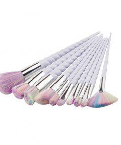 Unicorn make up kwasten / eenhoorn brushes, set van 10 stuks, handvat wit, haren in regenboogkleuren