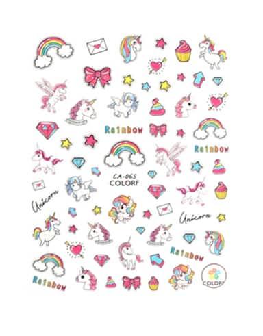 Unicorn Nagelstickers eenhoorn en regenbogen
