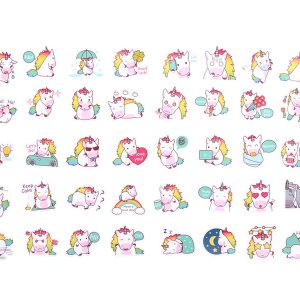 Unicorn stickers waterproof met leuke teksten als call me, love you