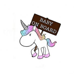 Unicorn bumpersticker Baby on board eenhoorn