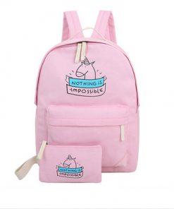 Set unicorn canvas rugtas met bijpassende eenhoorn etui kleur roze, nothing is impossible