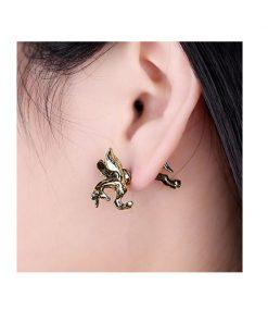 Unicorn oorbellen Studs oorbellen eenhoorn paard in kleur goud