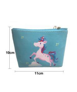 Unicorn kinder portemonnee groen blauw met rennende eenhoorn /paard erop
