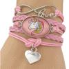 Unicorn armband Infinity Love met eenhoorn roze