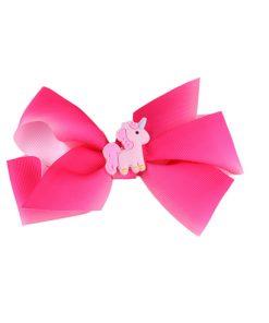 Unicorn Haaraccessoires meisjes, grote roze strik met eenhoorn/paard