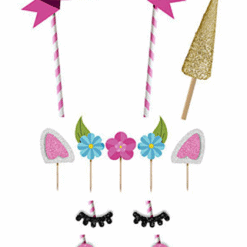 Unicorn taartversiering, set Happy Birthday unicorn