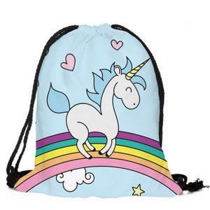 Unicorn rugtas trekkoordzak eenhoorn op regenboog kleur blauw