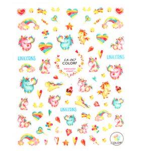 Unicorn nagelstickers regenboog eenhoorns, sterren en hartjes