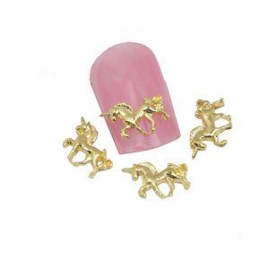 Unicorn nagel studs in goudkleur