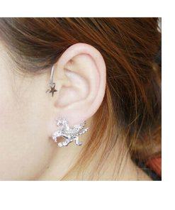 Unicorn oor sieraad zilver kleur
