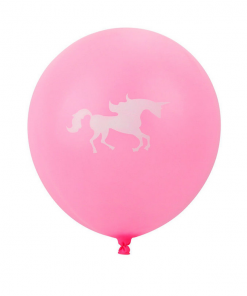 Unicorn ballon roze met wit
