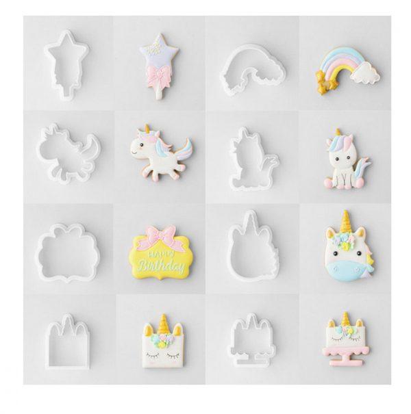 Unicorn Koekjes bakken, 8 delige set van eenhoorn uitsteekvormen