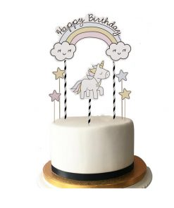 Eenhoorntaart - Happy birthday unicorn taartopperUnicorn taartopper met tekst Happy Birthday