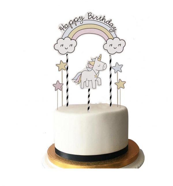Eenhoorntaart - Happy birthday unicorn taartopperUnicorn taartopper met tekst Happy Birthday