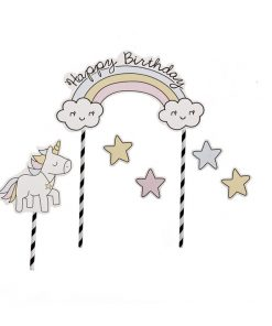 Unicorn taartopper met tekst Happy Birthday