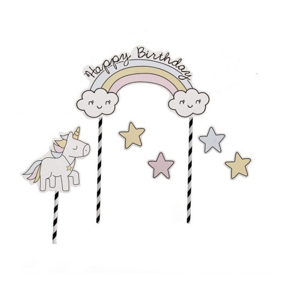 Unicorn taartopper met tekst Happy Birthday