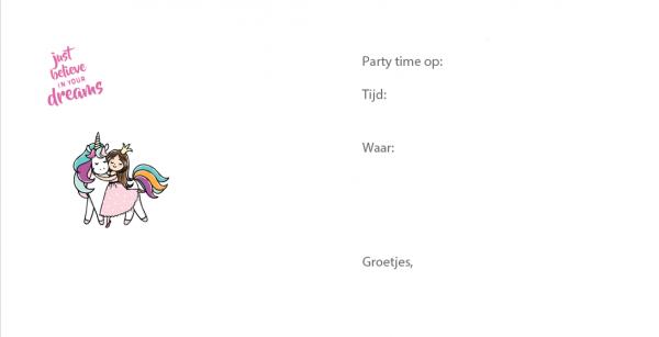 eenhoorn uitnodiging kinderfeestje