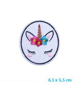 Eenhoorn strijk embleem, applicatie strijkplaatje