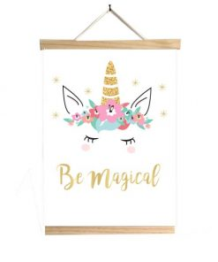 Unicorn poster Be magical met houten frame