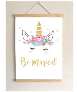 Unicorn poster Be magical met frame