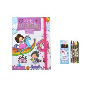 eenhoorn kleurboekje met unicorn waskrijtjes zakformaat