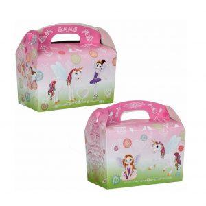 Eenhoorn menu doos voor op kinderfeestje