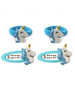 Eenhoorn haarspeldjes elastiekjes blauw