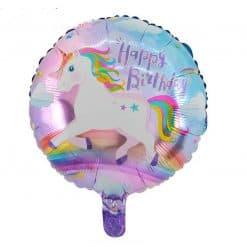 Eenhoorn folie Ballon voor de jarige met tekst Happy Birthday