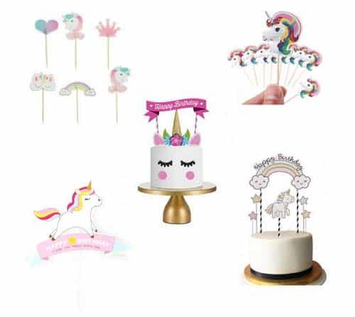 Eenhoorn Taart toppers, unicorn cake toppers
