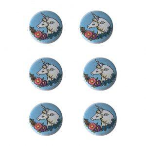 Eenhoorn buttons 6x kinderfeestje