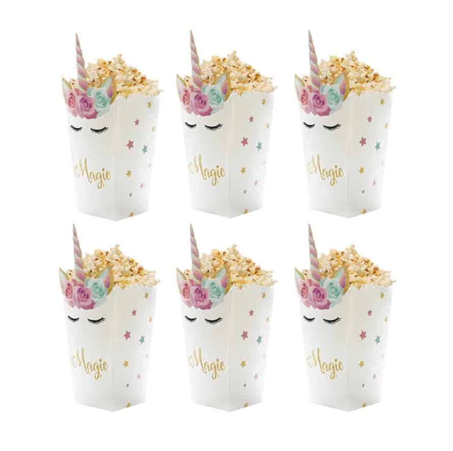 Eenhoorn popcorn bakjes