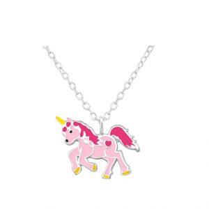 Eenhoorn-ketting d roze met zilveren ketting kind