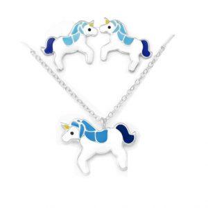 Eenhoorn-sieraden-set-zilver blauw