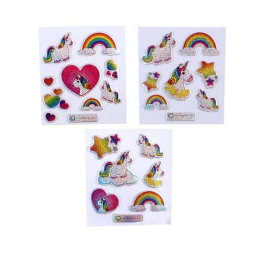 Glitter eenhoorn 3D stickers