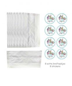 Witte Kraft Zakjes met eenhoorn stickers en prinses