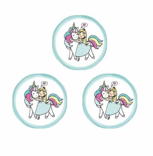 Eenhoorn Stickers 8 stuks prinses met kroon