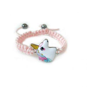 Eenhoorn armbandje roze geknoopt
