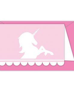 Eenhoorn uitnodiging roze 6x