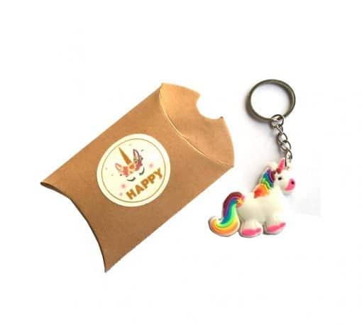 Eenhoorn sleutelhanger met happy unicorn cadeau doosje