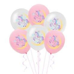 Eenhoorn ballonnen latex roze wit