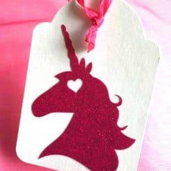 Eenhoorn glitter label roze