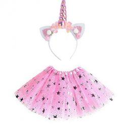 Eenhoorn tutu met sterretjes en diadeem roze